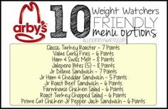 Here are 10 menu options at Arbys that will fit into your Weight Watchers Meal Plan All 8 Points or Less! Please PIN THIS POST to your Weight Watchers board! Be sure to check out 50 Weight Watchers Friendly Fast Food Options including KFC Wendys A Weight Watchers Tipps, Weight Watchers Meal Plans, Weigh Watchers, Weight Watchers Smart Points, Weight Watchers Diet, Weight Watcher Dinners, Weight Watchers Restaurant Points, Menu Fast Food, Turkey In Roaster