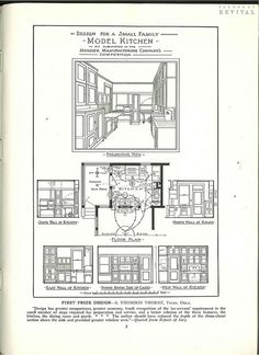 First prize winning design by Thomson Thorne from The Kitchen Design Book which was a free give-away book from Hoosier Maufacturing. Published by the Hoosier Manufacturing Co. circa 1917. Includes 50 plans of model kitchens submitted in a competition participated in by 343 of the leading architects and architectural draftsmen of America. 50 complete designs, with plans, elevations, drawings and illustrations.