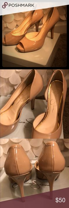Jessica Simpson Peep-toe Heels Worn one time. One small scratch on heel as shown, barely noticeable. Insides are pristine. Great, versatile heel. My feet grew after pregnancy. Jessica Simpson Shoes Heels