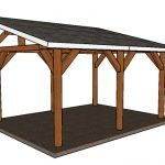 This step by step woodworking project is about how to build a lean to pavilion - free diy plans. I had been working on this pavilion design for a long time making a lot of fine tuning till I've got this perfect shape and structure. Backyard Pavilion, Outdoor Pavilion, Backyard Gazebo, Backyard Ideas, 10x20 Shed, Wooden Carports, Diy Carport, Screened Gazebo, Roof Trim