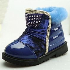 Snow Boots Flat Heel Boots Shaft with Rhinestone Outdoor Girl's Shoes – USD $ 22.99