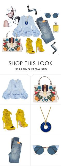 """Lovely in jeans"" by explorer-14812429634 ❤ liked on Polyvore featuring Johanna Ortiz, Gucci, Casadei, Charter Club, Citizens of Humanity, Fendi and Christian Dior"