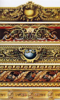 examples of gilded dado/borders (via arteverday) Border Design, Pattern Design, Carving Designs, Ornaments Design, Flower Ornaments, Wow Art, Grafik Design, Architectural Elements, Oeuvre D'art
