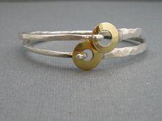 Artesano plata pulsera con cierre de anillo de por stoneandsterling