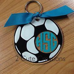Acrylic Soccer Keychain/Bag Tag by 2CuteCreationsShop on Etsy