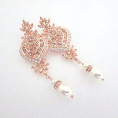 Hey, I found this really awesome Etsy listing at https://www.etsy.com/listing/231603627/rose-gold-bridal-earrings-crystal