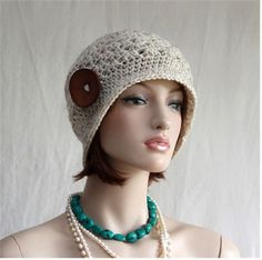 Womens Hat with Button  Crochet Flapper Hat  by endlesscreation