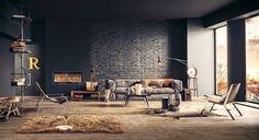 mur en brique noire dans le grand salon de style loft industriel