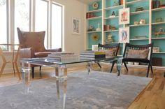 Bookshelves. Midcentury Modern. Colorful living room. Design // Austin Bean Design Studio