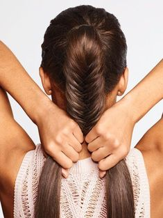 See the step-by-step tutorial for this fishtail braid ponytail�all you need is your hands.