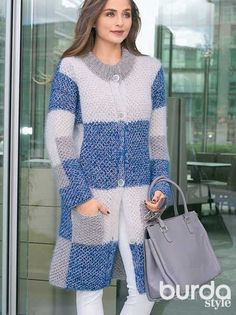 Клетчатое пальто - схема вязания спицами. Вяжем Пальто на Verena.ru