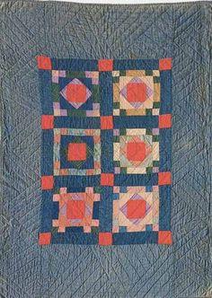Box and Diamond Crib Quilt, 1890. Made for Katie. Amish. Mifflin Co, Pennsylvania.