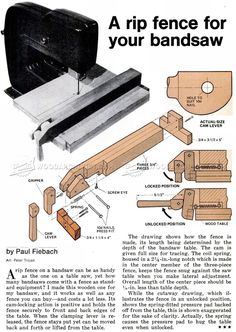 Band Saw Rip Fence Plans - Band Saw Tips, Jigs and Fixtures - Woodwork, Woodworking, Woodworking Plans, Woodworking Projects Woodworking Bandsaw, Woodworking Hand Tools, Woodworking Projects, Woodworking Articles, Bandsaw Projects, Wooden Projects, Old Tools, Homemade Tools, Hobbies And Crafts