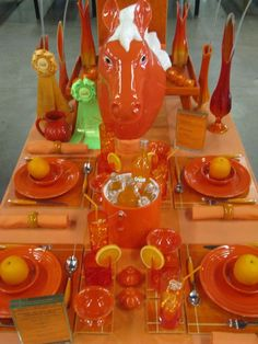 Orange Table Setting by victoriabernal, via Flickr