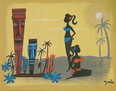 Orig El Gato Gomez Painting Retro Eames Mid Century Modern Tiki Bar Hula Girls | eBay