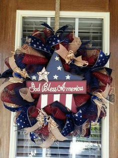 Red, white  blue Deco Mesh Wreaths, Holiday Wreaths, Holiday Crafts, Holiday Decor, Rustic Wreaths, Burlap Wreaths, Patriotic Wreath, Patriotic Crafts, 4th Of July Wreath