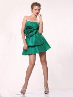 A-line Strapless Taffeta Short/Mini Sleeveless Ruched Sweet 16 Dresses at Msdressy.com