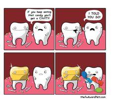 Teeth cavities - The Awkward Yeti Really Funny Memes, Stupid Funny Memes, Funny Laugh, Funny Cartoons, Funny Comics, Cartoon Memes, The Awkward Yeti, Dental Jokes, Funny Comic Strips