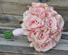Simple Pink Rose Bouquet in silk flowers by Hollysflowershoppe