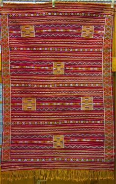 """Vintage Moroccan Middle Atlas Berber Flatweave Kilim Rug - Red ~5'8"""" x 3'10"""" #FlatweaveKilim"""