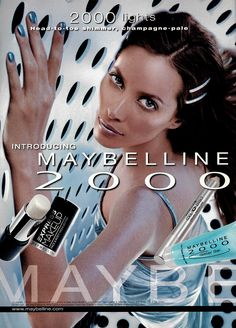 Christy Turlington for Maybelline Vintage Makeup Ads, Vintage Beauty, Vintage Ads, Maybelline, 1990s Makeup, Early 2000s Fashion, Beauty Ad, Vintage Packaging, Fragrance