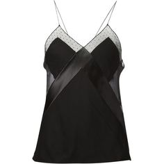 Alexandre Vauthier tulle insert camisole ($2,045) ❤ liked on Polyvore featuring tops, black, black cami, alexandre vauthier and black camisole