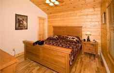 "the cozy king bedroom on main level of our vacation rental home ""Bear Paws"". Perfect Rustic Log Home experience! Deep Creek Lake MD area"