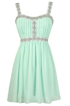 Desiree Embellished Strap Chiffon Dress in Mint  www.lilyboutique.com