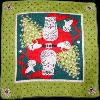 Tammis Keefe Christmas Santa Vintage Linen Handkerchief
