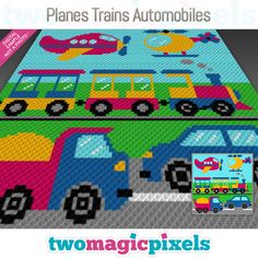 Order here: Planes, Trains, Automobiles crochet blanket pattern; Pixel Crochet, C2c Crochet, Crochet Chart, Crochet Blanket Patterns, Crochet For Kids, Baby Blanket Crochet, Crochet Toys, Crochet Blankets, Crochet Baby
