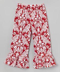 Waistin' Away Red Damask Ruffle Pants - Infant, Toddler & Girls | zulily $19.99