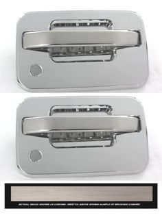 All Sales Brush Chrome LH & RH W/LockK - It's time to lose the unsightly plastic door handle that come factory with your truck, and replace it with our solid billet assembly. These heavy duty brutes are not the imitation stick on overlays, these handles add security and style to your vehicle. Crafted here in the USA. Available finish options: polished chrome or brushed chrome.Fits: Ford 04-13 F150. Automotive. Weight: 3.00