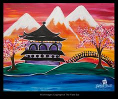 Japanese Pagoda Painting - Jackie Schon, The Paint Bar