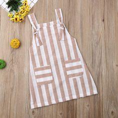 Dresses Kids Girl, Kids Outfits, Dress Girl, Halter Sundress, Girl Sleeves, Pocket Pattern, Girl Decor, New Baby Girls, Stripes Fashion