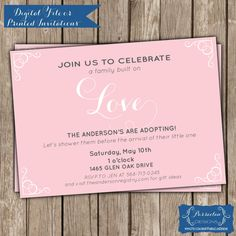 Adoption Shower Invitation, Adoption Baby Shower Invitation. #adoption #babyshower #invitation
