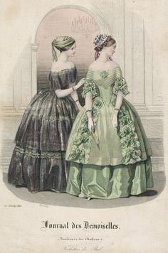 January ballgowns, 1848 France, Journal des Demoiselles: Love the green dress