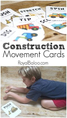 Free Construction Movement Cards.  Get your kids moving with a free construction…