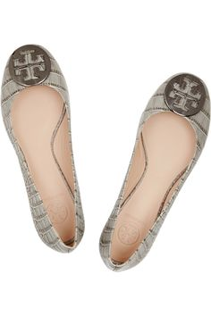 Reva croc-effect leather ballet flats