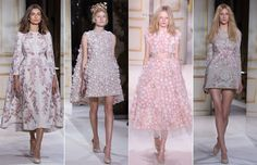Pretty Parisian dresses in baby pink embroidery stole the show for Giambattista Valli this season