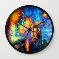 The 10th Doctor who Starry the night Wall Clock @society6 #wallclock #tardisdoctorwho #starrynight #davidtenant #phonebox #bluephonebooth #publiccallbox #vangogh