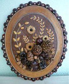 Картины из фруктовых косточек Barn Wood Crafts, Wire Crafts, Crafts To Do, Homemade Xmas Gifts, Homemade Crafts, Pine Cone Art, Seed Art, Bird Coloring Pages, Pine Cone Decorations