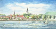 """Annapolitan Spring"" Landmark Renditions.  Click for a print #landmarkrenditions #christinechapa #downtown #annapolis #USNA #sail #nautical #local #watercolor #artist"