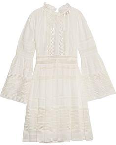 SEA - Open-back Crochet-paneled Cotton Mini Dress - White