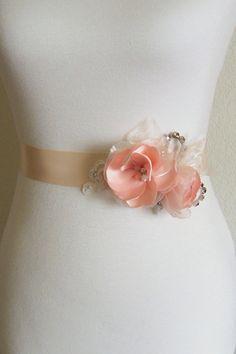 Peach Wedding Dress Sash Belt Peach and Ivory by SorellaSashes
