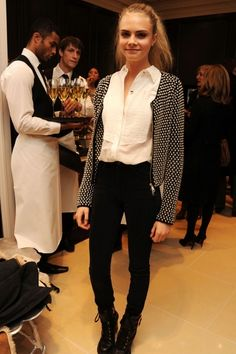 Work wear inspiration. Monochrome and embellished jacket. Cara - Can I please have your jacket? For keeps.