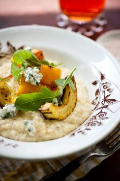 Creamy Grits with Roasted Butternut Squash and Blue Cheese - Sara Foster Sara Foster, Blue Cheese Recipes, Gourmet Recipes, Yummy Recipes, Vegetarian Recipes, Recipies, Snack Recipes, Healthy Recipes, Snacks