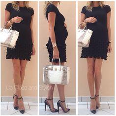 Chanel dress, Louboutin python 'Un Bout' 120mm and Hermès Himalaya Birkin 30 - Up Close and Stylish