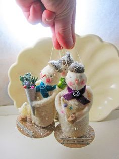 Trio of Darling Larger Sized Vintage Inspired Snowmen by Carynbay, $59.99