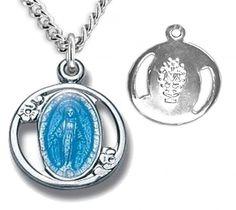 Women's Petite Blue Enamel Miraculous Pendant - Blue