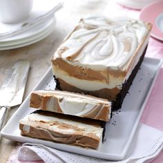 Frozen Mocha Marbled Loaf Recipe -This showstopping marbled dessert seems fancy, but it's really simple to prepare ahead of time and pop in the freezer. Frosty slices have a creamy blend of chocolate and coffee that's delightful anytime of year. —Cheryl Martinetto, Grand Rapids, Minnesota